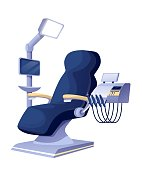 istock Dentist office chair with equipment interior design elements. Dental healthcare vector illustration. Chair for patient with tools and instruments, lamp, dentistry equipment. Stomatology practice 1287364746