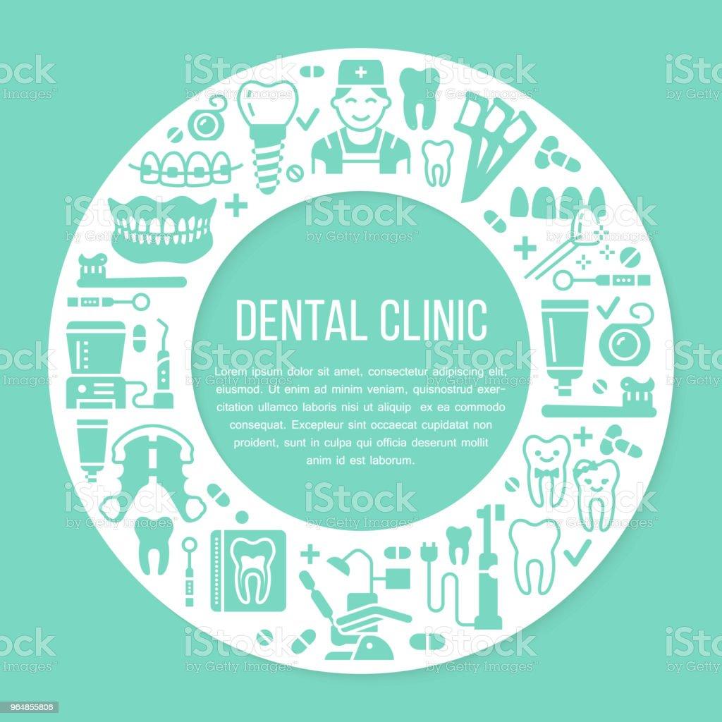 Consultorio de dentista, ortodoncia azul bandera del círculo médico con icono de vector línea de equipos de cuidado dental, brackets diente prótesis, carillas, seda. Clínica de Odontología cartel salud silueta signos - ilustración de arte vectorial