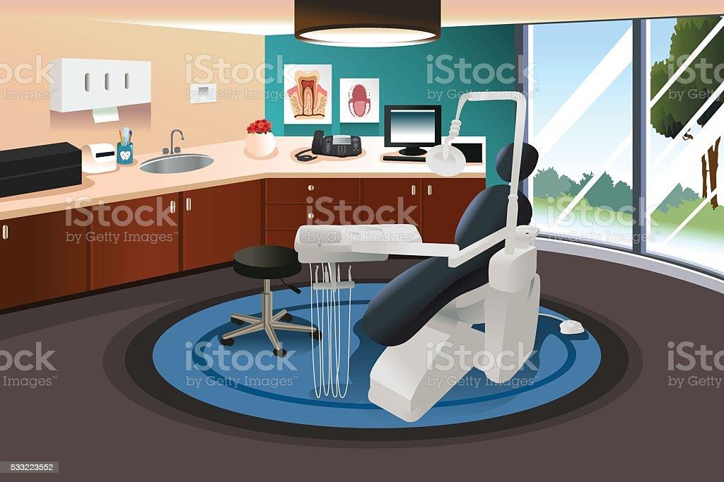 Dentist Office Scene vector art illustration