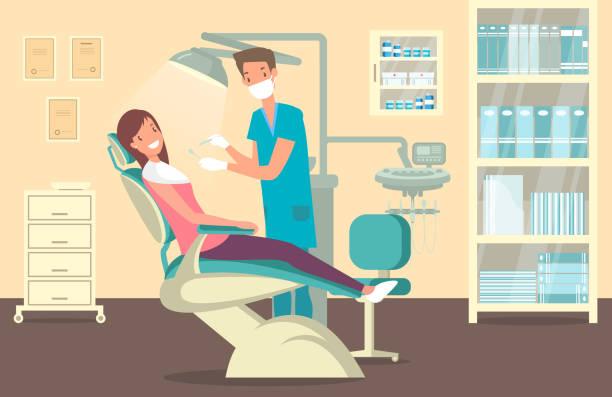bildbanksillustrationer, clip art samt tecknat material och ikoner med tandläkare kontor, tand vård och behandling tema - tandläkare