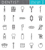 A group of 25 dentist 'open outline' thin line icons. File is built in the CMYK color space for optimal printing. Icons are grouped and easy to isolate.
