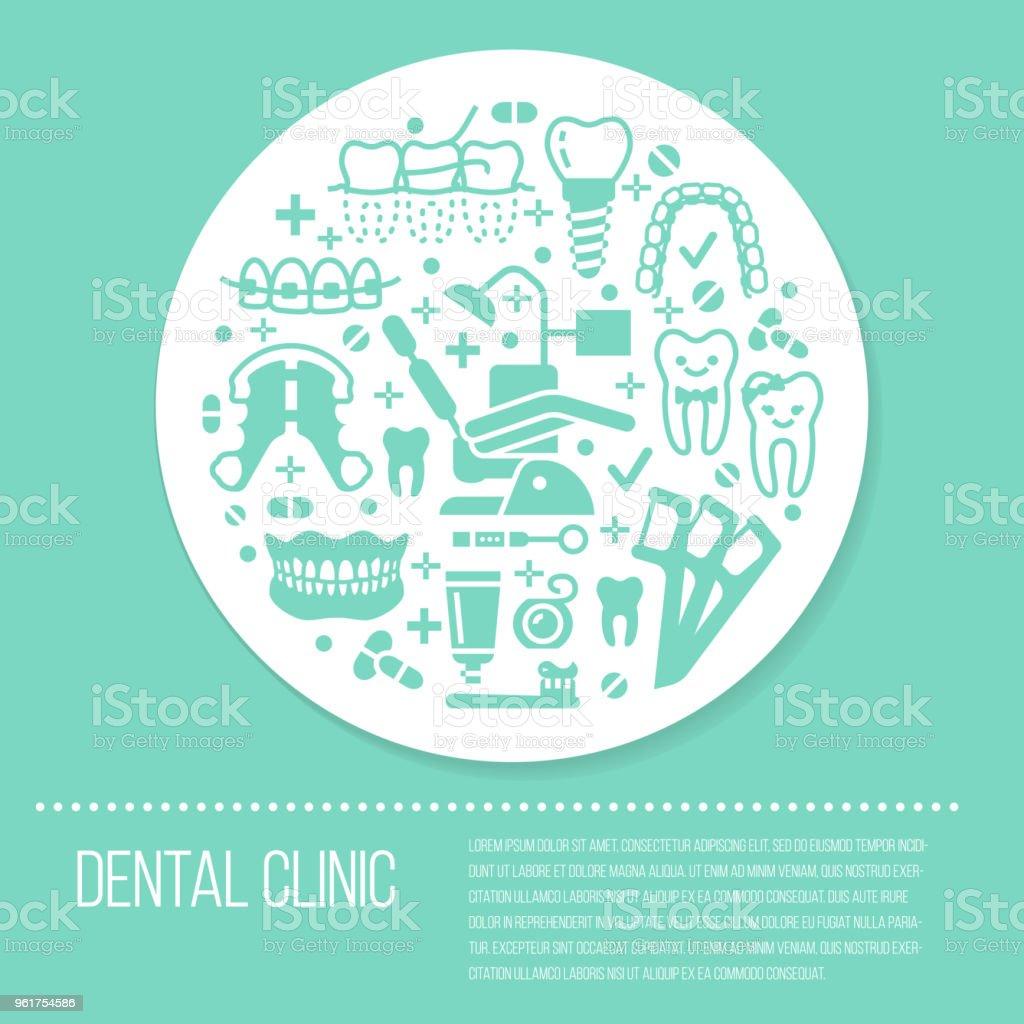 518ed2ba7 Vetor de Dentista Banner Médica De Ortodontia Azul Com Ícones De ...