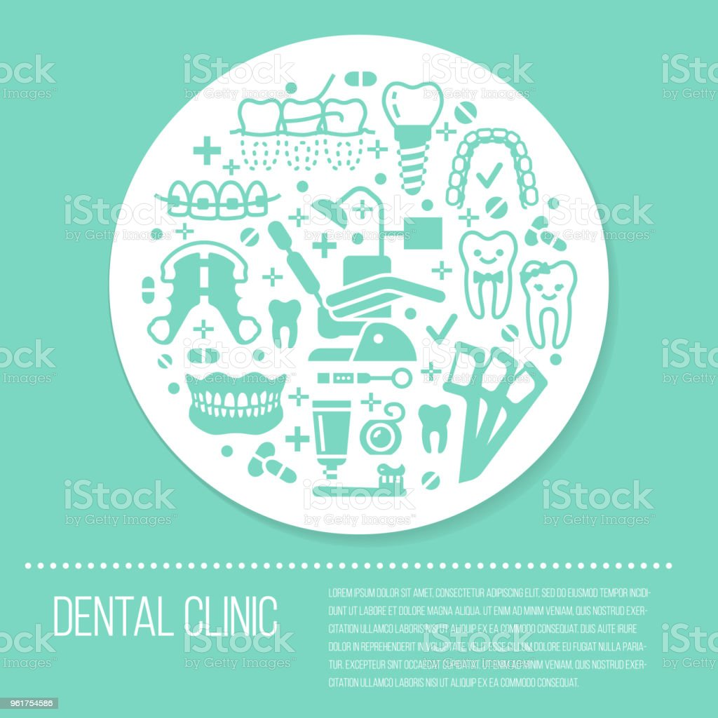 Dentist, orthodontics blue medical banner with vector glyph icons. Dental care equipment, braces, tooth prosthesis, veneers, floss, caries treatment. Health poster silhouette signs dentistry clinic vector art illustration