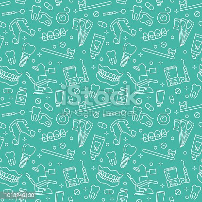 istock Dentist, orthodontics blue seamless pattern with line icons. Dental care, medical equipment, braces, tooth prosthesis, floss, caries treatment, toothpaste. Health care background for dentistry clinic 1018246130