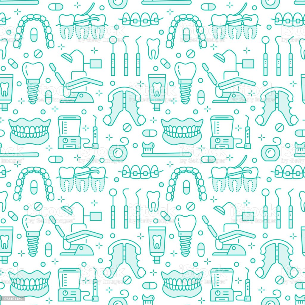 Dentist, orthodontics blue seamless pattern with line icons. Dental care, medical equipment, braces, tooth prosthesis, floss, caries treatment, toothpaste. Health care background for dentistry clinic vector art illustration