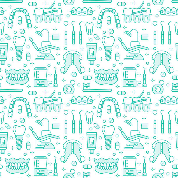 dentist, orthodontics blue seamless pattern with line icons. dental care, medical equipment, braces, tooth prosthesis, floss, caries treatment, toothpaste. health care background for dentistry clinic - dentist stock illustrations, clip art, cartoons, & icons