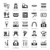 Dentist, orthodontics flat glyph icons.