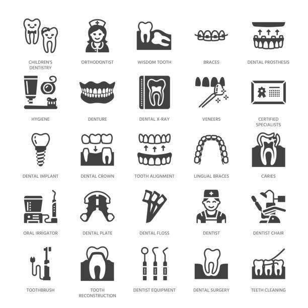 歯科医、矯正フラット グリフ アイコン。 - 歯科点のイラスト素材/クリップアート素材/マンガ素材/アイコン素材