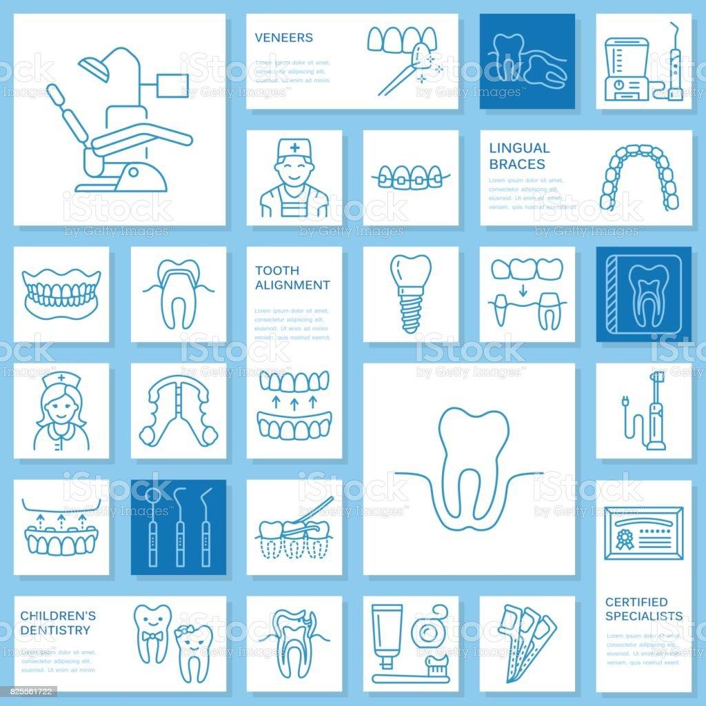 歯科医、矯正線アイコン。歯科医療機器、中かっこ、歯の補綴物、ベニア、フロス、齲蝕治療と医療の他の要素。歯科診療所の医療薄い線形標識 ベクターアートイラスト