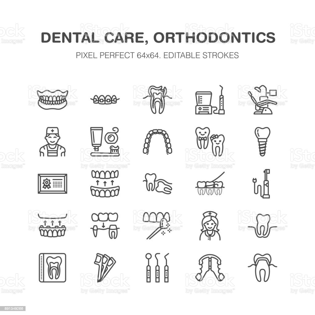 Dentist, orthodontics line icons. Dental equipment, braces, tooth prosthesis, veneers, floss, caries treatment medical elements. Health care thin linear signs for dentistry clinic Pixel perfect 64x64
