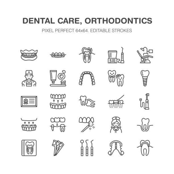 dentist, orthodontics line icons. dental equipment, braces, tooth prosthesis, veneers, floss, caries treatment medical elements. health care thin linear signs for dentistry clinic pixel perfect 64x64 - dentist stock illustrations, clip art, cartoons, & icons