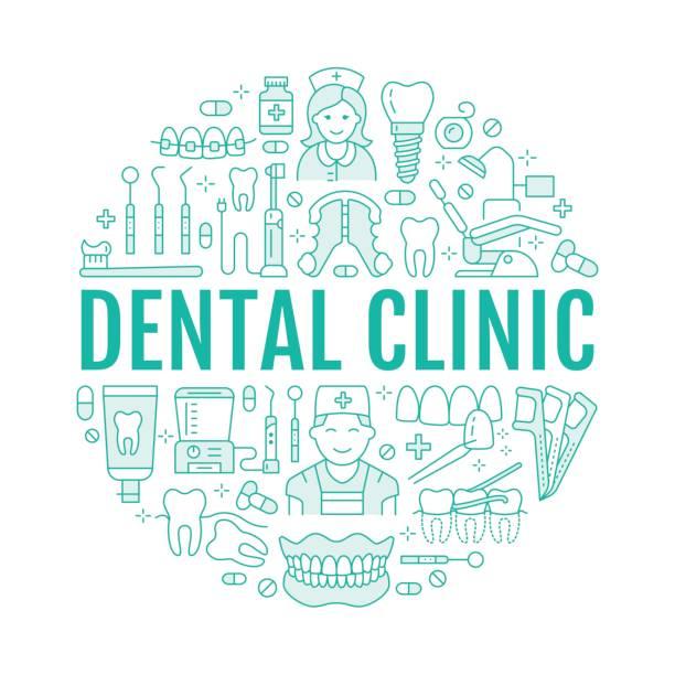歯科医、歯科医療機器、中かっこ、歯の補綴物、ベニア、フロス、齲蝕治療のベクター線のアイコンと矯正医療バナー。歯科診療所の医療薄い線形標識 ベクターアートイラスト