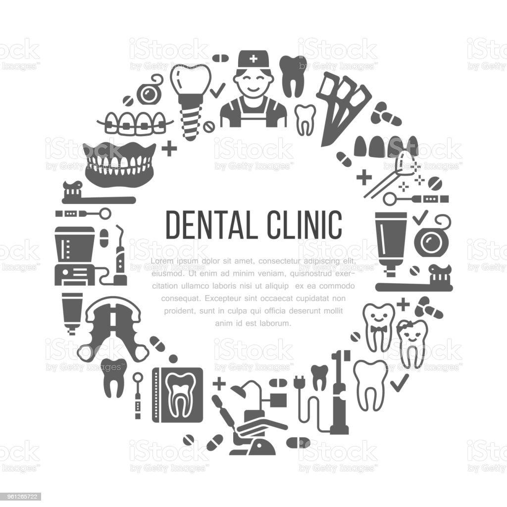 bede6cc51 Vetor de Dentista Ortodontia Bandeira Médica Com Ícones De Vetor ...