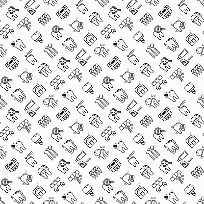 Dentist seamless pattern with thin line icons: dental instruments, caries under magnifier, orthodontics, tooth extraction, veneers, tooth whitening, implant, braces, calculus. Vector illustration.