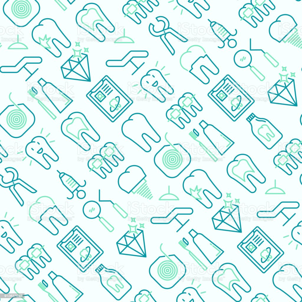 Dentist seamless pattern with thin line icons of tooth, implant, dental floss, crown, toothpaste, medical equipment. Modern vector illustration. vector art illustration