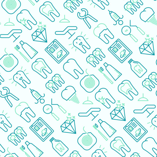 dentist seamless pattern with thin line icons of tooth, implant, dental floss, crown, toothpaste, medical equipment. modern vector illustration. - dentist stock illustrations, clip art, cartoons, & icons