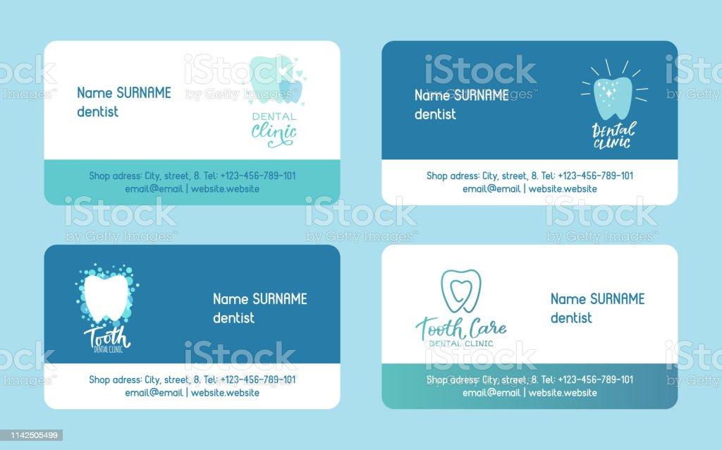 Zahnarztset Von Visitenkarten Vektorabbildung Gesunder Zahn