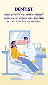 Dentist, Stomatologist Vector Flyer with Text. Patient in Dental Clinic. Hospital, Clinic. Woman on Chair in Dental Office. Appointment. Close Up Teeth on Screen. Male Doctor in Face Mask