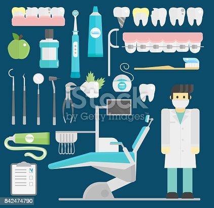 Dentist Symbols Vector Set Health Care Medicine And Chemical
