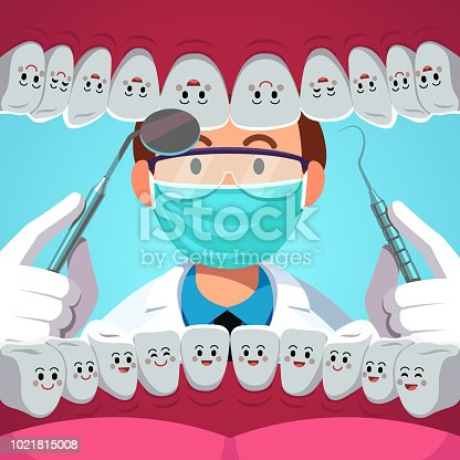 Dentist with dental instruments examining patient teeth. Inside of mouth view with smiling healthy tooth. Dentistry checkup concept. Flat isolated vector