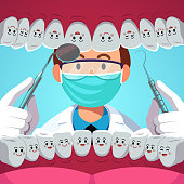 Dentist holding instruments examining teeth. Patient mouth inside view checkup with animated cartoon smiling healthy teeth characters. Teeth examination dentistry concept. Flat vector illustration