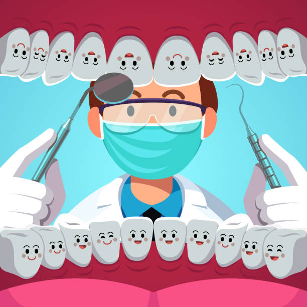 dentist with dental instruments examining patient teeth. inside of mouth view with smiling healthy tooth. dentistry checkup concept. flat isolated vector - dentist stock illustrations, clip art, cartoons, & icons
