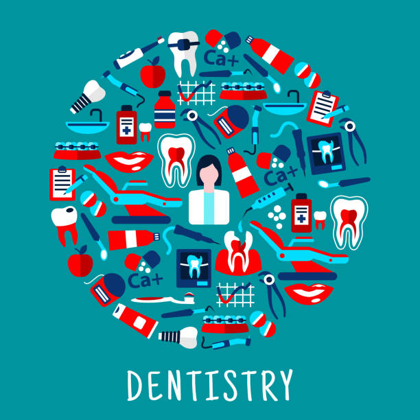 Dentist with dentistry icons round symbol ベクターアートイラスト