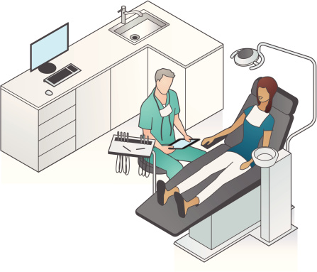 Dentist with Patient Illustration