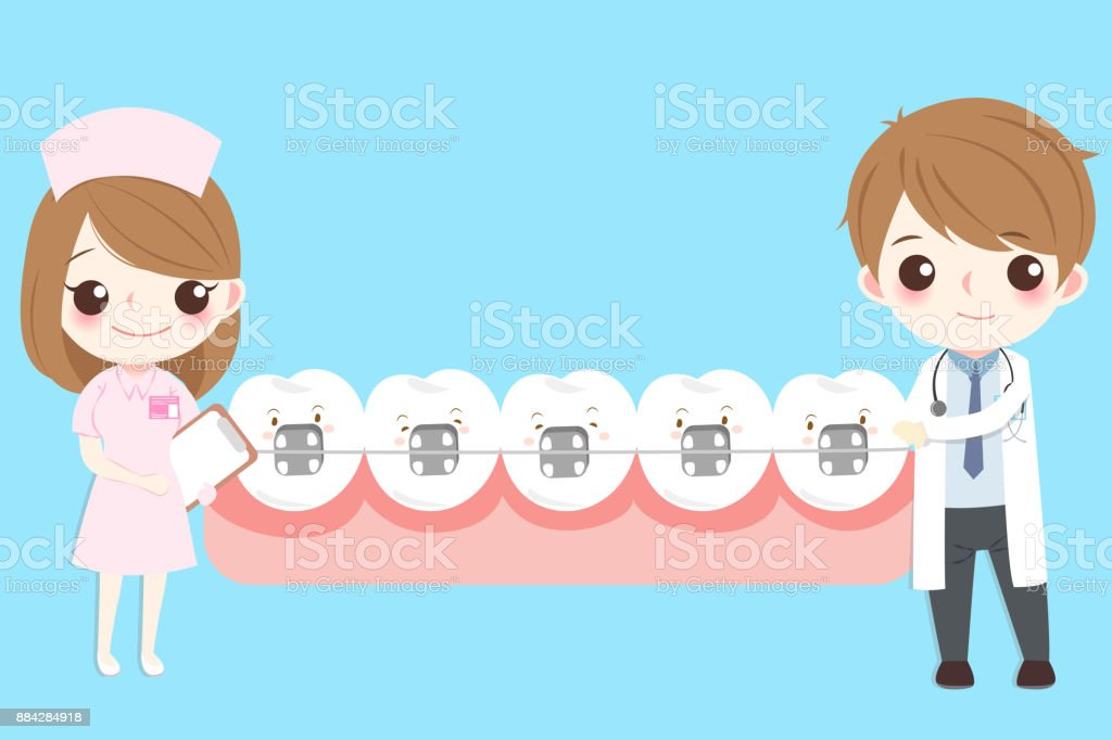 dentist with tooth vector art illustration