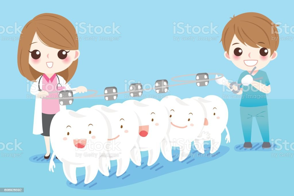 dentist with white tooth vector art illustration