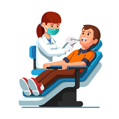 Dentist woman examining patient man teeth looking inside mouth holding instruments. Flat isolated vector