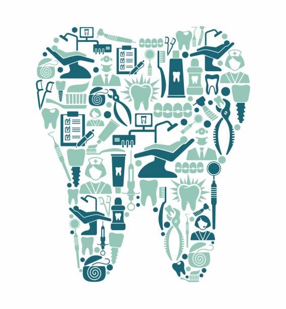 zahnmedizin und zahnpflege symbole in form eines zahnes - zähne putzen stock-grafiken, -clipart, -cartoons und -symbole