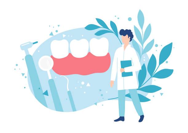 bildbanksillustrationer, clip art samt tecknat material och ikoner med tandvård och friska tänder. undersökning av en tandläkare. hygien och munvård. - tandläkare