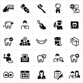 A set of dentistry and orthodontics icons. The icons include dentists, orthodontists, patients, toothbrush, crown, checkup, education, family, smile, medication, floss, brushing teeth, braces, dental assistant, and dental team to name a few.