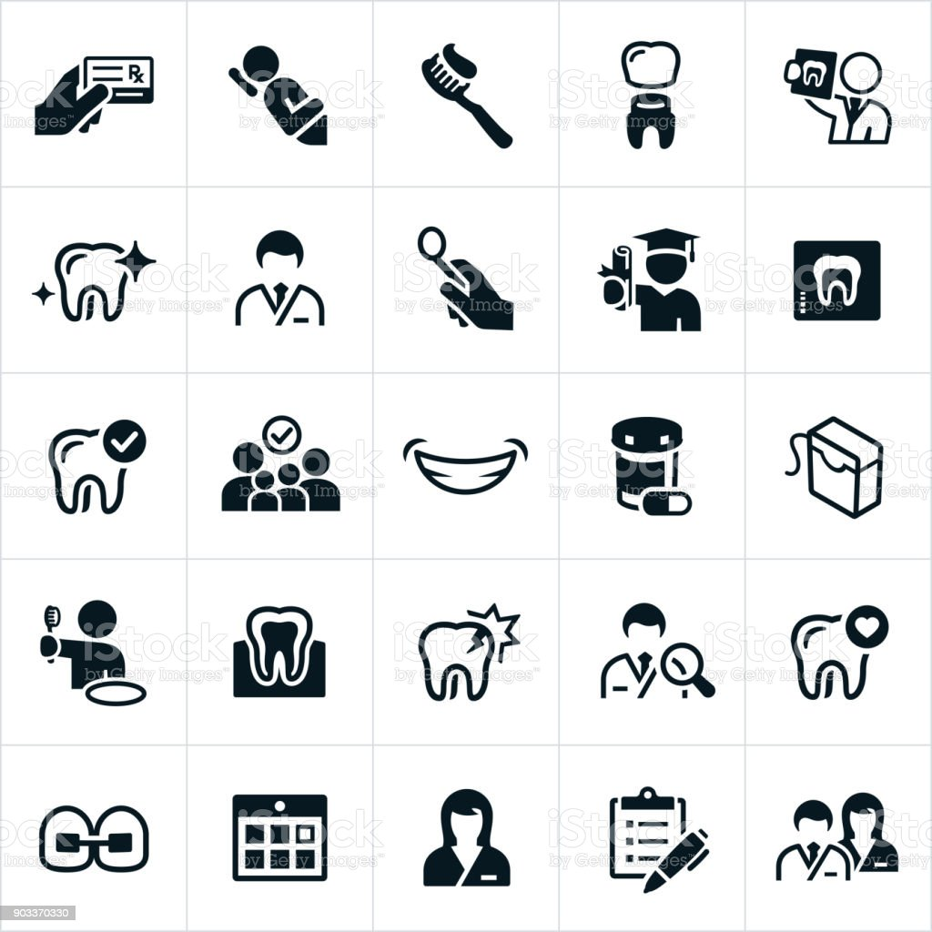 Dentistry and Orthodontics Icons vector art illustration