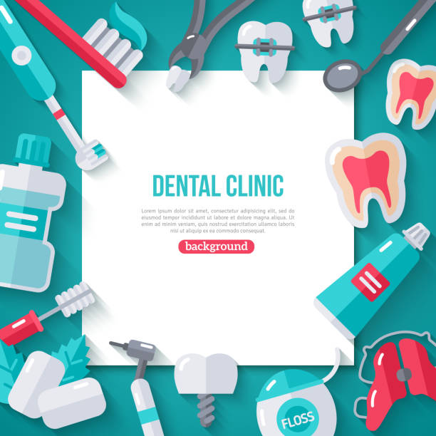 dentistry banner with flat icons - dentist stock illustrations, clip art, cartoons, & icons