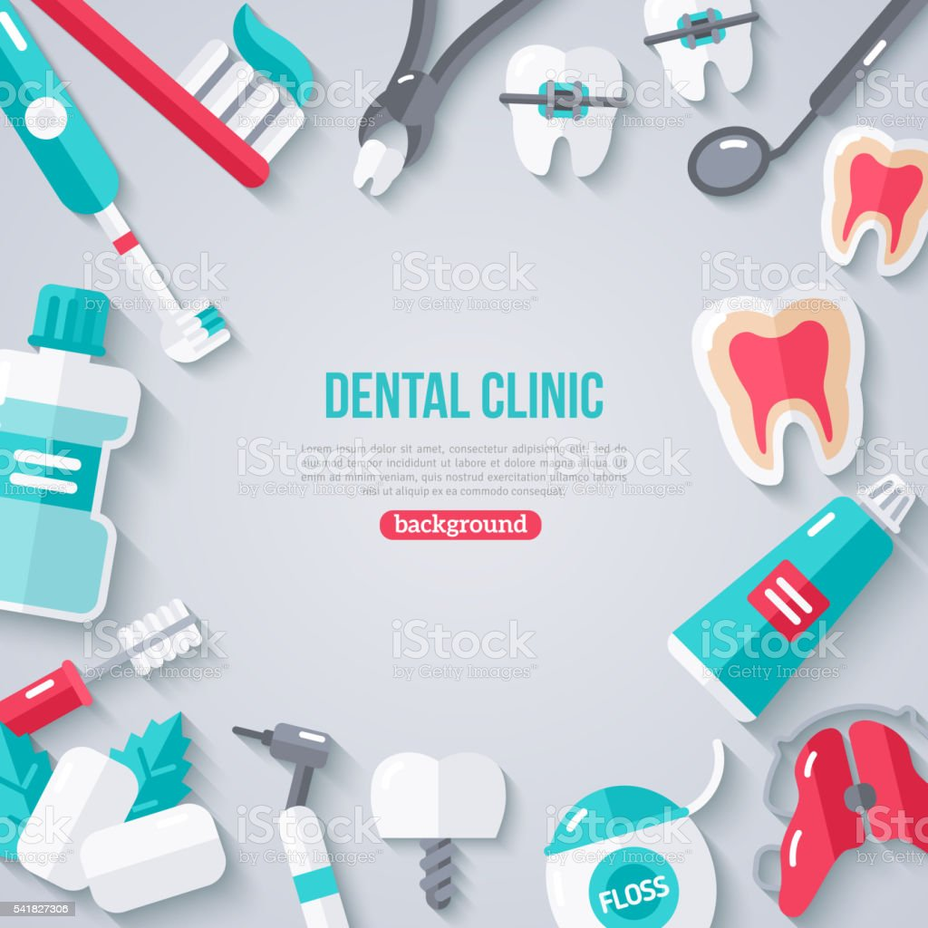 Dentistry Banner With Flat Icons vector art illustration