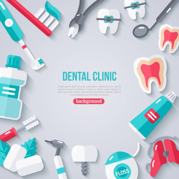 bildbanksillustrationer, clip art samt tecknat material och ikoner med dentistry banner with flat icons - tandläkare