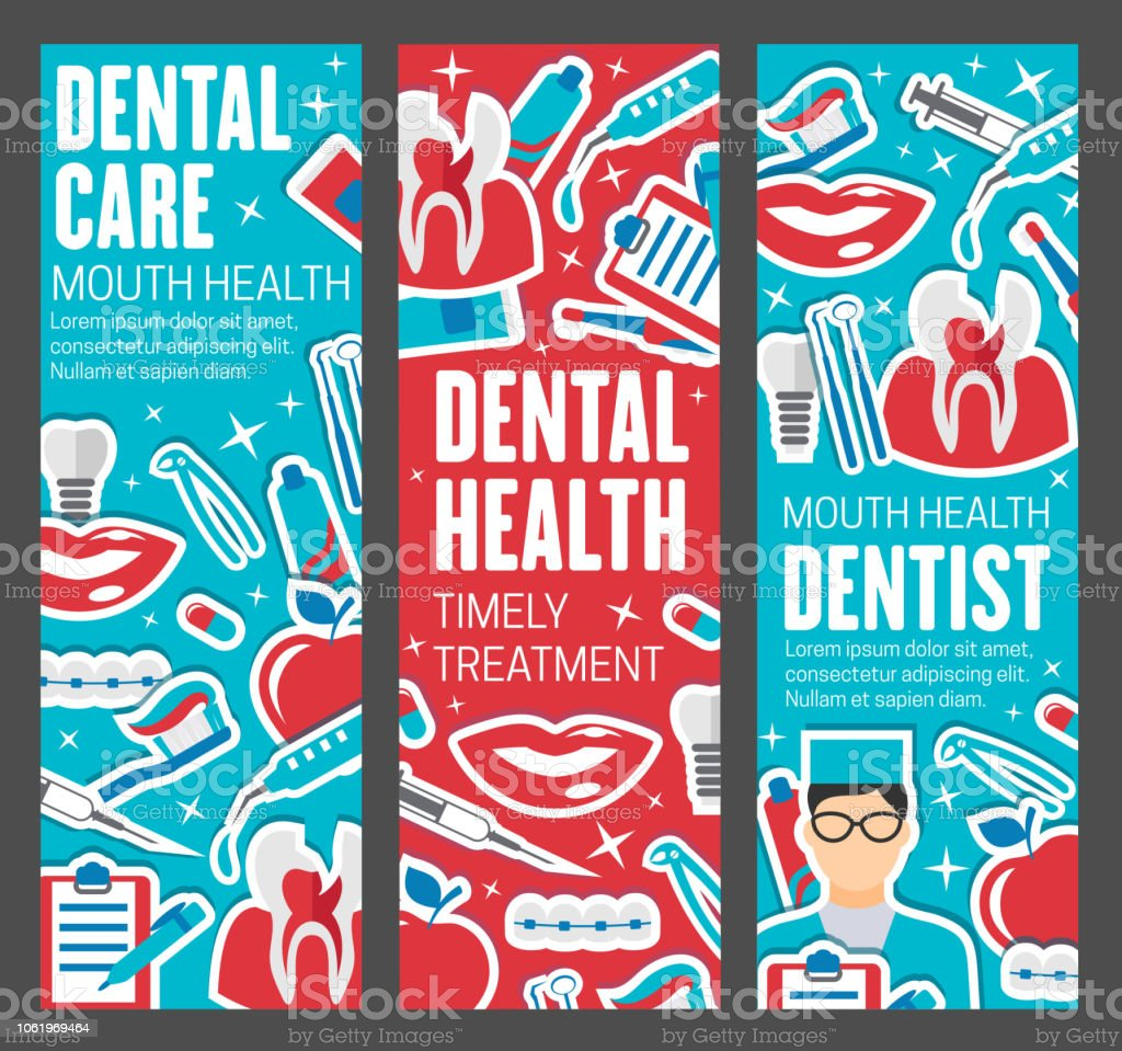 Dentistry Banners Doctor And Dental Care Tools Stock