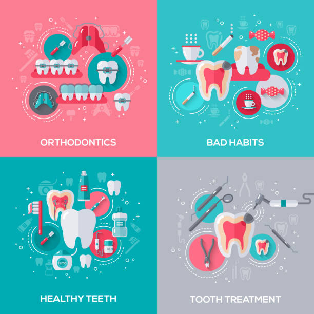 dentistry banners set with flat icons. - orthodontist stock illustrations, clip art, cartoons, & icons