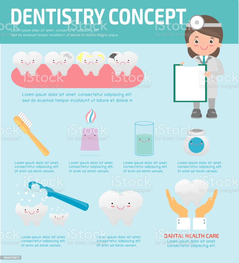Dentistry concept with dental health care, Dentist infographics, vector flat modern icons design illustration vector - Royalty-free Adult stock vector