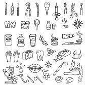 Dentistry and dental care. Big vector doodle set.
