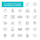 Dental Care, Dental Equipment, Smiling, Braces, Dental Drill, Dental Filling, Editable Line Icon Set
