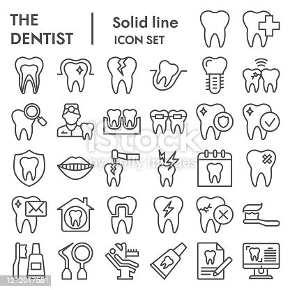 Dentistry line icon set. Dental care signs collection, sketches, logo illustrations, web symbols, outline style pictograms package isolated on white background. Vector graphics