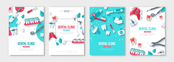 dentistry posters set - dentist stock illustrations