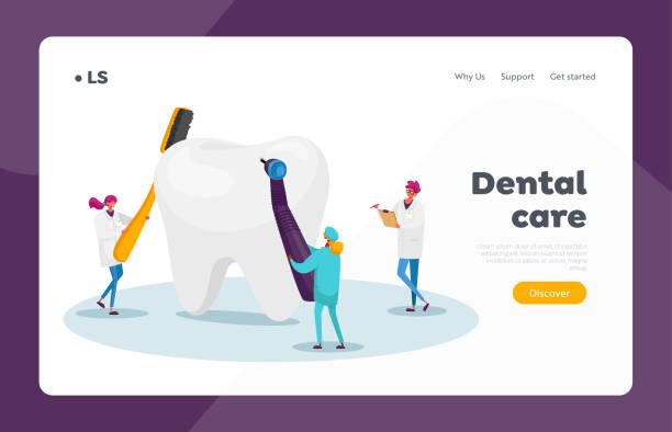stockillustraties, clipart, cartoons en iconen met tandheelkunde tanden zorg landing page template. kleine tandartsen controleren enorme tand voor caries gat in plaque, stomatologie - streptococcus mutans