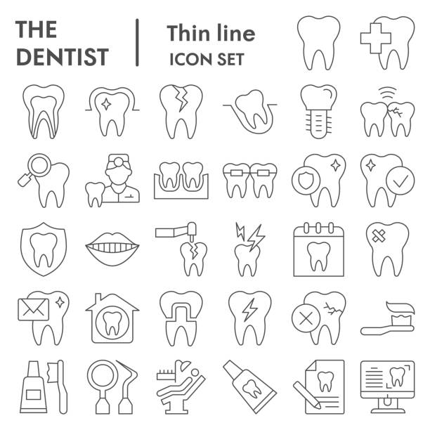 Dentistry thin line icon set. Dental care signs collection, sketches, logo illustrations, web symbols, outline style pictograms package isolated on white background. Vector graphics. Dentistry thin line icon set. Dental care signs collection, sketches, logo illustrations, web symbols, outline style pictograms package isolated on white background. Vector graphics abstract clipart stock illustrations
