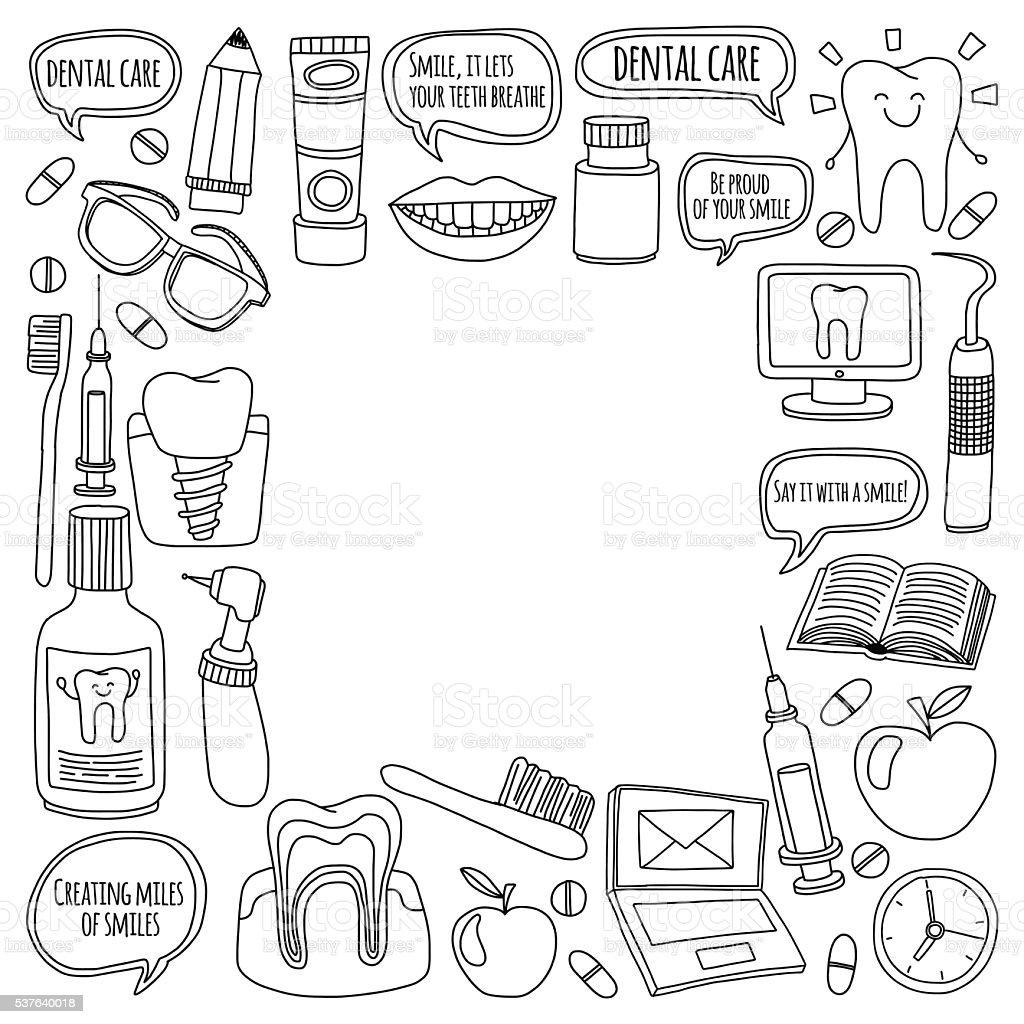 Dentistry Vector doodle set of icons Children dental care vector art illustration