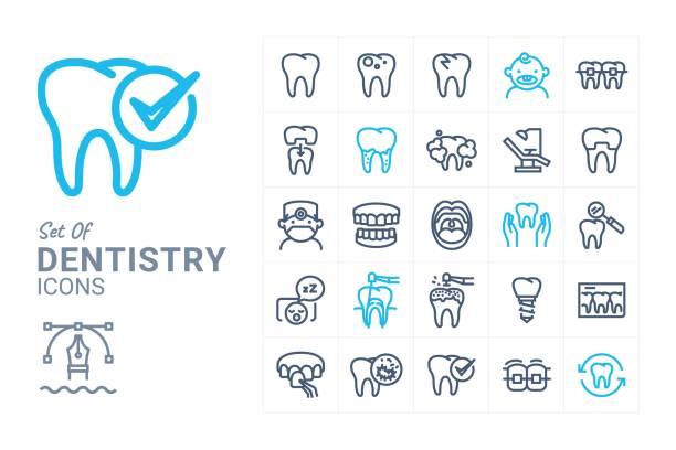 Dentistry Dentistry vector icon set 1 dental health stock illustrations