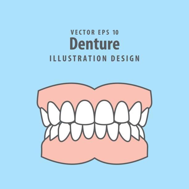 Denture illustration vector on blue background. Dental concept. vector art illustration